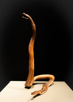 Artist Takizo Obata rescued this piece from a wood pile and simply carved a head and tail to let the natural shape of the wood embody a rattlesnake. (Takizo Obata, Poston, AZ)  The Art of Gaman, featuring arts and crafts from the Japanese American Internment Camps from 1942 to 1946, is on view thru October 12, 2014 at Bellevue Arts Museum.