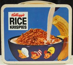 1969 Kellogg's Sugar Frosted Flakes / Rice Krispies Lunch Box (back) Retro Lunch Boxes, Lunch Box Thermos, Cool Lunch Boxes, Metal Lunch Box, Cereal Companies, School Lunch Box, School Days, Sugar Frosting, Vintage Tins