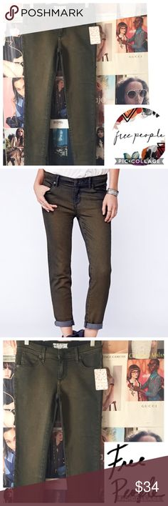 """Free People   Olive Maris skinnys Cute, practical, versatile--the olive green goes with nearly everything blue jeans go with. Just a bit more interesting. W 27"""". Inseam 26"""". Stretchy. NWT. Free People Jeans Skinny"""