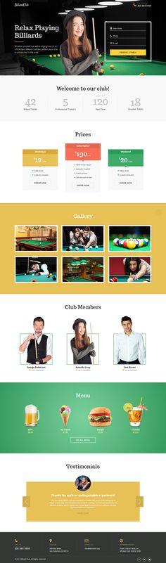 Billiard Club Landing Page Template
