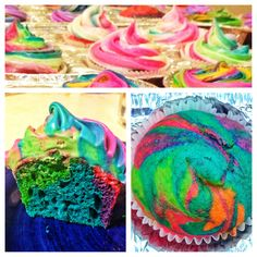 Tie dye cupcakes! I hope these turn out for the birthday party!!