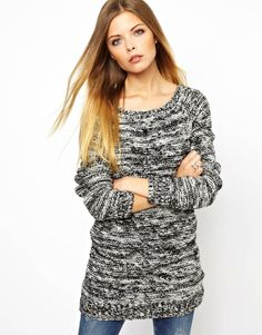 Noisy May | Noisy May Salt N Pepper Longline Sweater at ASOS