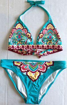 Victorias Secret Two Piece Bikini Swimsuit Mod Floral Fully Lined Size Medium #VictoriasSecret #2PieceBikini
