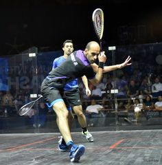 """Great technique here from Marwan. Notice how his shoulder sits under his chin, elbow low & racket head high."""