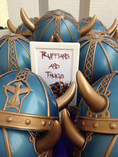 """Viking hats for the """"ruffians and thugs.""""  Rapunzel art party."""