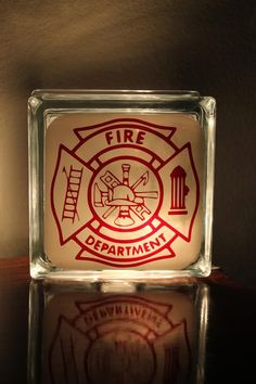 Firefighter Glass Block Night Light. , via Etsy.