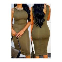 Army Green Round Neck Sleeveless Bodycon Dress ($12) ❤ liked on Polyvore featuring dresses, army green, mid calf dresses, brown bodycon dress, sleeveless sheath dress, print dress and bodycon dress