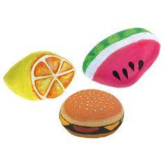 Kivistä saat maalaamalla myös aidonnäköisiä ruokia leikkeihin. Tarvikkeet ja ideat Sinellistä!
