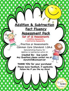 Addition & Subtraction Fact Fluency practice with sums within 10.  Use for tracking progress by giving a timed test each week.   CCSS 1.OA.6