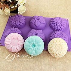 Peicees 6 Cavity Silicone Flower Soap Mold Chrysanthemum Sunflower Mixed Flower shapesCupcake Backing mold Muffin pan Handmade soap silicone Moulds