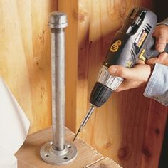 DIY Tip of the Day: Paper towel holder for the shop. Build a sturdy paper towel holder with a 12-in. length of 3/4-in. galvanized pipe, a cap and a floor flange. Screw the floor flange to your workbench, insert the pipe into it and screw on the cap. Then just set the paper towel roll over the pipe.