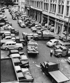 Parking and unloading hassles in Blair Street, Wellington Black White Photos, Black And White, Wellington New Zealand, The Hutt, Diy Home Repair, Lest We Forget, British Isles, Old Pictures, Cuba