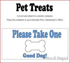 Dramatic play Vet's office printables..