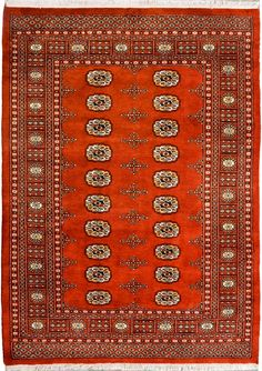 "Rust Oriental Bokhara Rug 4' 6"" x 6' 4"" (ft) - No. 11275  http://alrug.com/rust-oriental-bokhara-rug-4-6-x-6-4-ft-no-11275.html"