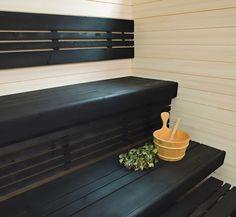 Cool sauna (excuse the pun! Spa Rooms, Beautiful Space, Outdoor Furniture, Outdoor Decor, Tiles, Storage, Painting, Bathroom, Saunas