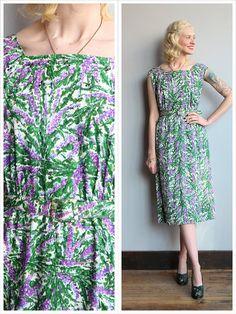 1950s Dress // Afternoon Vineyard Dress // by dethrosevintage