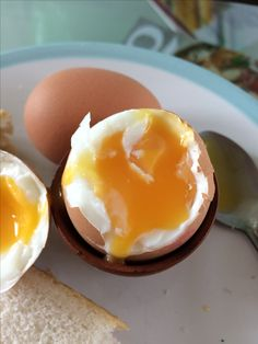 Perfect soft boiled egg - time 5 minutes from when water starts to boil.