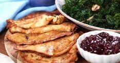 Raggmunk på jordärtskocka med grönkålssallad Palak Paneer, Chicken Wings, Guacamole, Steak, Vegan, Breakfast, Ethnic Recipes, Food, Frases