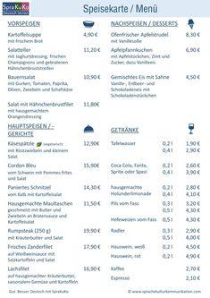 Deutsch lernen Im Restaurant Essen und Trinken bes. Foreign Language Teaching, German Language Learning, Learning German, Speisenkarten Designs, Deutsch Language, German Christmas, Thing 1, Menu Restaurant, Foreign Languages