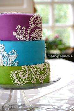 Bright blue, purple and lime green three tiered fondant covered cake with white piped royal icing detail.  Color inspiration for our engagement photo shoot.  Lee has a gray and lime coat, could wear blue, black or white underneath.  I have a gray longs sleeve, purple puff vest, and a lime scarf!  Whew....picking outfits is stressful!!!