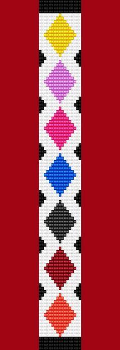 Argyle Diamond Bracelet Thin Bead Bracelet Pattern by TheBeadedCat Bead Loom Bracelets, Beaded Bracelet Patterns, Woven Bracelets, Jewelry Patterns, Diamond Bracelets, Seed Bead Patterns, Beading Patterns, Bead Loom Designs, Mochila Crochet