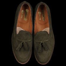 Alden hunting green suede tassel loafer