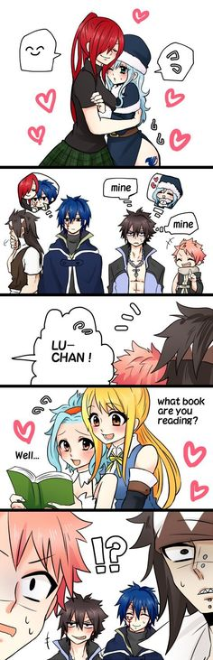 "NaLu, GaLe, GrUvia, and JeRza, I think this is hilarious how Natsu is freaking out but Gray over there's just like ""she's mine and she knows it"" Fairy Tail Nalu, Fairy Tail Ships, Rog Fairy Tail, Fairy Tail Amour, Fairy Tail Meme, Fairy Tail Comics, Fairy Tail Guild, Gale Fairy Tail, Fairy Tail Gray"