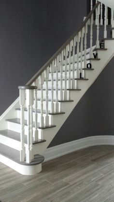 Staircase Makeover, Staircase Wall Decorating Ideas, Decorating Ideas for Stairs. Painted Staircases, Painted Stairs, White Staircase, Staircase Design, Grand Staircase, Staircase Ideas, Modern Staircase, Hallway Ideas, Ikea Hallway