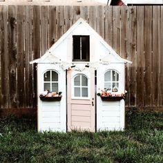Kids playhouse playhouse diy playhouse makeover white playhouse #outdoorplayhouseideas #woodworkingforkids