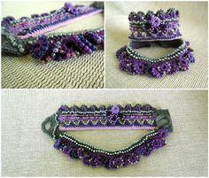 Lilac Gray Crochet Cuff Bracelet Beaded Cuff by SvetlanaCrochet