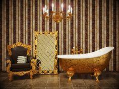 Stylish classic bathroom with striped wallpaper and gold frame ,Bathroom. Stylish classic bathroom with striped wallpaper and gold frame , Striped Wallpaper Decor, Of Wallpaper, Bathroom Wallpaper Trends, Bathroom Images, Bathroom Ideas, Bathroom Inspiration, Retro Bathrooms, Chic Bathrooms, Master Bathrooms