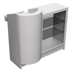 Balcão Caixa Curvo e Vitrine em MDF Branco - 120cm - Loja de Expositores