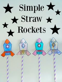 Straw Rockets FREE Printable | Rockets Craft | Rocket Activity | Kids Crafts | Kids Activities | Preschool Education | Toddler Activities