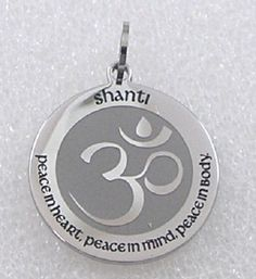 Shanti Om Lotus Necklace Silver Stainless Steel Peace Heart Mind Body Chakra  #Unbranded #Pendant