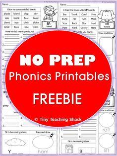 phonics no prep printables CVC, CVC3, CVCC, Beginning Blends, Digraphs, R-controlled words, Vowel Teams (diphthongs)