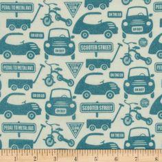 Riley Blake Cruiser Blvd Flannel Car Lanes Blue