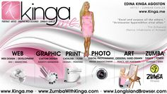 Kinga is a professional portrait artist, graphic/web designer based in the Hamptons, Long Island New York with a great deal of experience devoted to provide professional, high-end design solutions for the web as well as for the print media as well as fitness dancer offering Zumba and LaBlast cardio dance fitness classes with focus on weight loss and body toning.