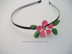 Hair Accessory-Wire flowers headband with nail polish by semeistvoadams.blogspot.com