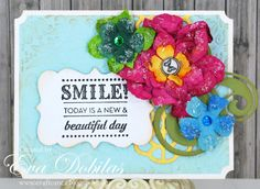 Card made with Unity Stamps and Petaloo flowers.