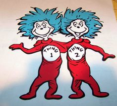 Thing 1 one and 2 two die cut piece scrapbooking dr. seuss - pinned by pin4etsy.com