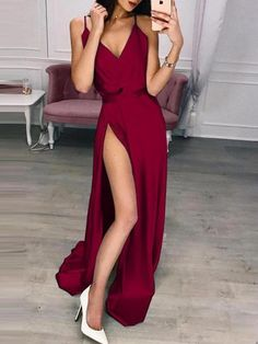 Split V-Neck Sleeveless Floor-Length Spaghetti Strap Womens Dress We carry a wide array of the hottest styles of tops, bottoms, dresses, jewelry, and accessories. Evening Dresses For Weddings, Prom Dresses, Formal Dresses, Dress Size Chart Women, Maxi Dress With Slit, Dress Red, Buy Dress, Elegant Dresses, Party Dress