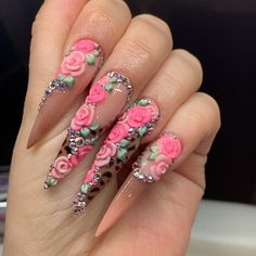 🌹A rose in a concrete jungle 🌹 Let me know if you like these ❤️ 👇🏼 . Sexy Nails, Glam Nails, Dope Nails, Bling Nails, 3d Nails, Disney Acrylic Nails, Summer Acrylic Nails, Best Acrylic Nails, Girls Nail Designs