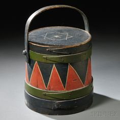 Paint-decorated Firkin with Swing Handle | Sale Number 2680B, Lot Number 7 | Skinner Auctioneers