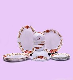 Larah Fluted Rosaline 21-piece Opal Dinner Set by Larah Online - Glass & Opalware - Kitchen & Dining - Pepperfry Product