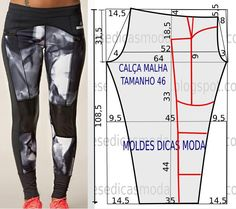 molde, corte e costura - Marlene Mukai Sewing Pants, Sewing Clothes, Diy Clothes, Dress Sewing Patterns, Clothing Patterns, Fashion Sewing, Diy Fashion, Diy Pantalon, Costura Fashion