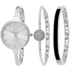 Women's So & Co New York Women's Madison Bangle Dress Watch Gift Set... ($55) ❤ liked on Polyvore featuring jewelry, jewelry & watches, silver, women's watches, hinged bracelet, bangle bracelet, quartz jewelry, bangle set and bangle jewelry