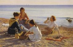 Elin Kleopatra Danielson-Gambogi (Finnish painter, 1861-1919) 'On the Beach', 1904