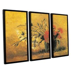 Vase with Red And White Carnation On A Yellow Background by Vincent Van Gogh 3 Piece Floater Framed Canvas Set