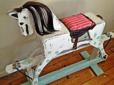 Upcycled 1960's Vintage Circus Rocking Horse by TattyBetty on Etsy, £250.00