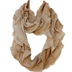 Elegant Khaki Soft Woven Infinity Loop Figure Eight Endless Scarf Wrap   One of the popular items of this season, the Infinity Scarf is an easy wrap for a cool evening or a great color accent.. Elegant wrap for a cool evening or a color accent, our Shawl Scarf Wrap is made of wool blended with viscose. Unique understated woven ruffle design pattern allows to wear it as a scarf over you  sweater or suit, a luxurious addition to an evening dress, or just the classic light w...